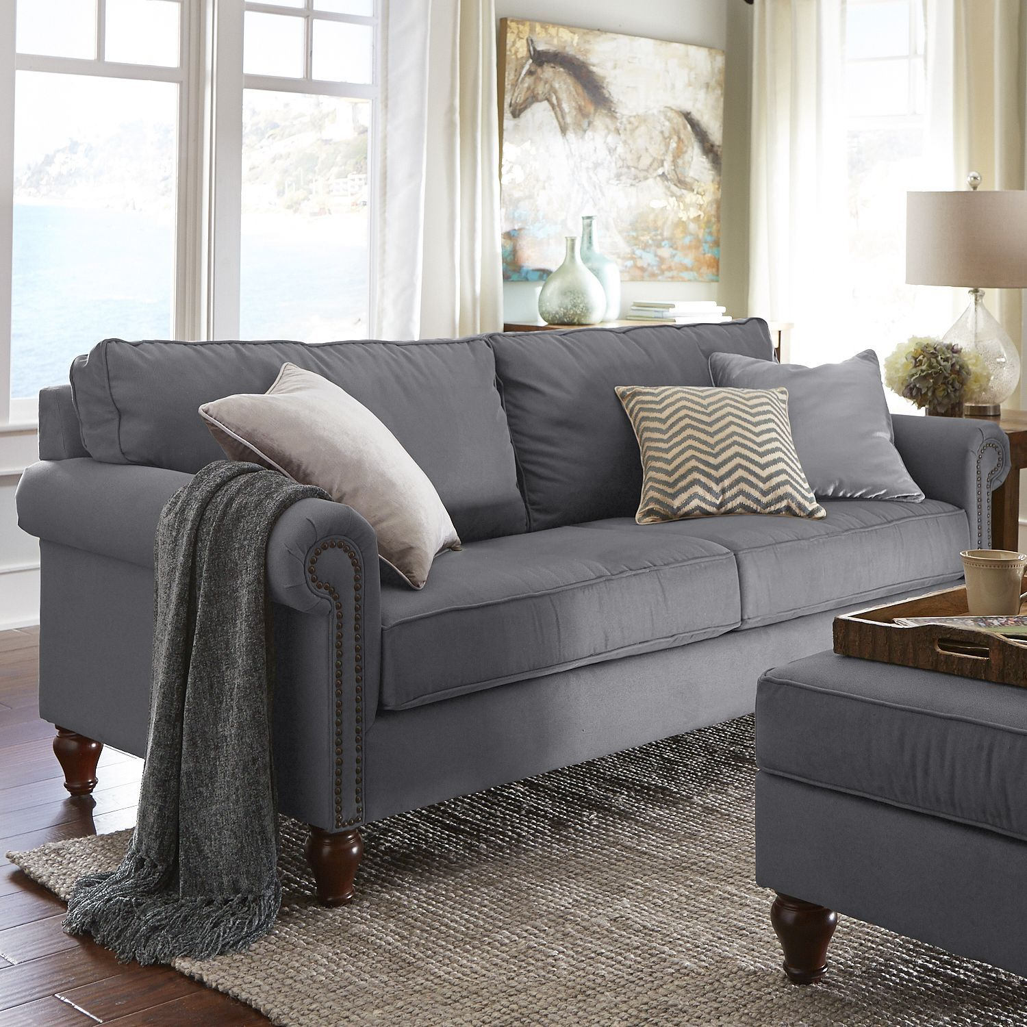 Alton Graphite Gray Rolled Arm Sofa Gunmetal