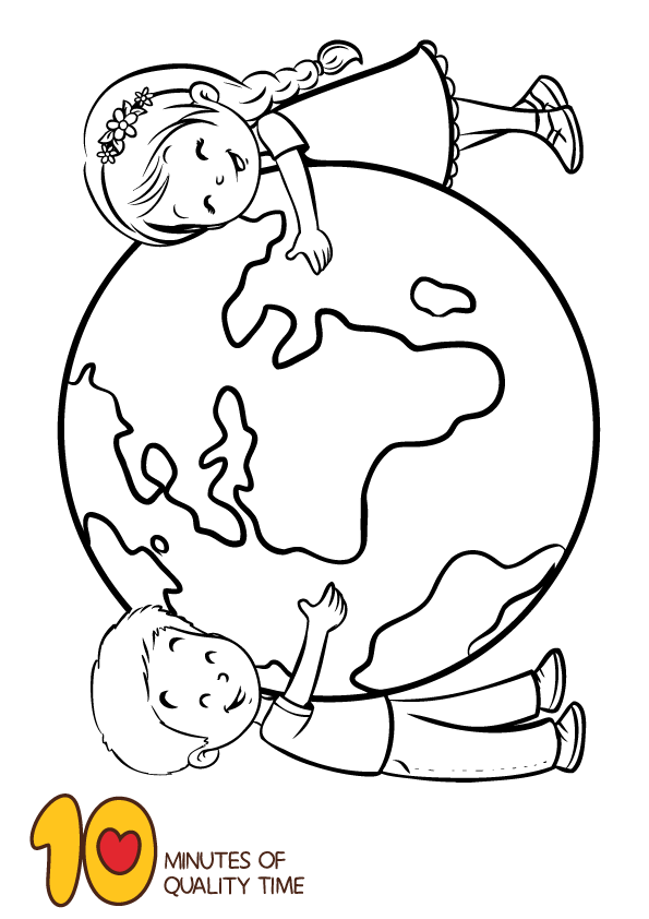 Earth Day Coloring Page – Kids Hugging Earth