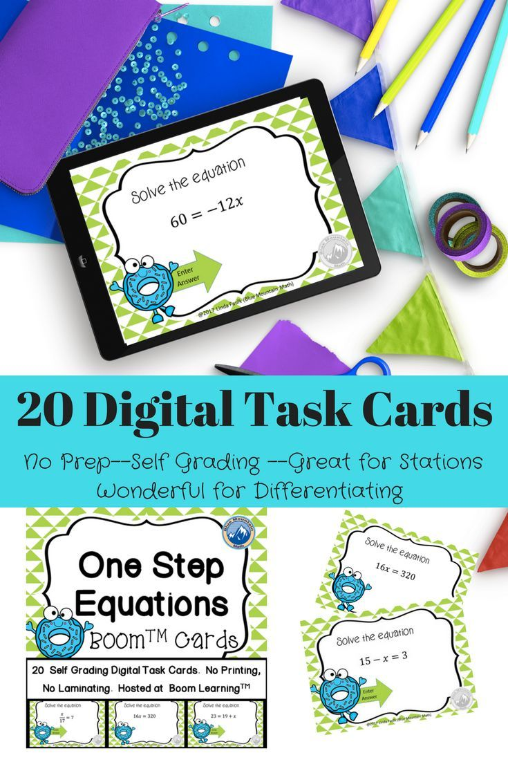 20 Digital Task Cards to master solving one step equations. https ...