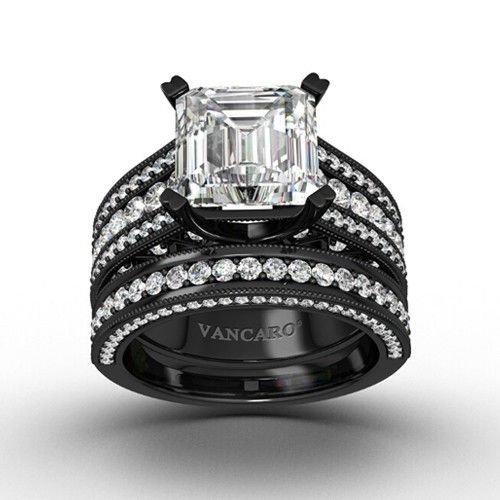Black Antique Wedding Ring Set Bridal Set with Asscher Cut Cubic