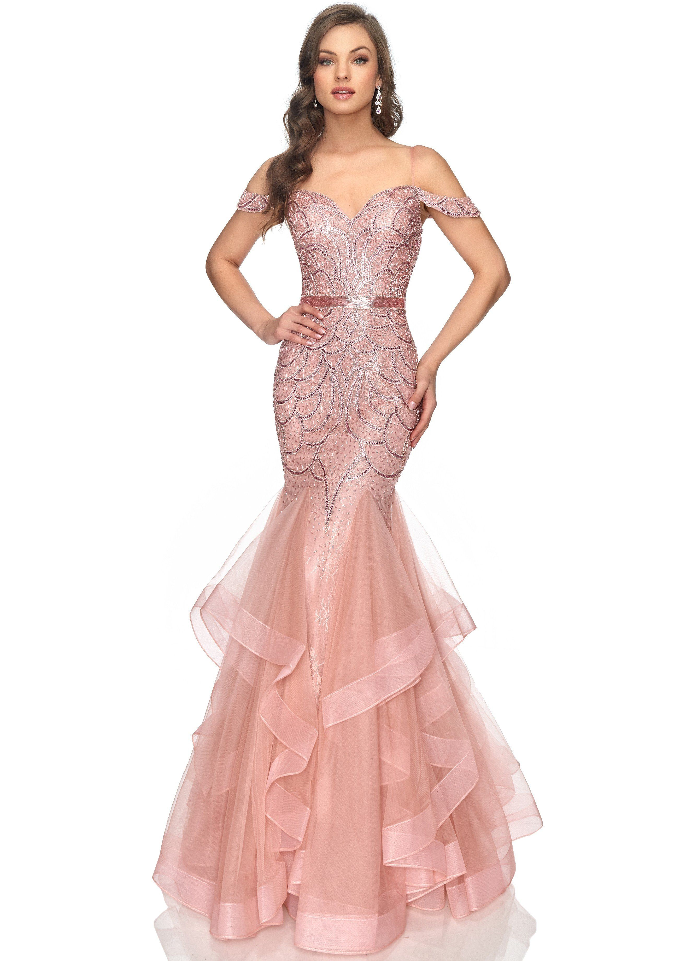 Lucci Lu 2147 Rose Gold Beaded and Tulle Mermaid Gown | Pageant