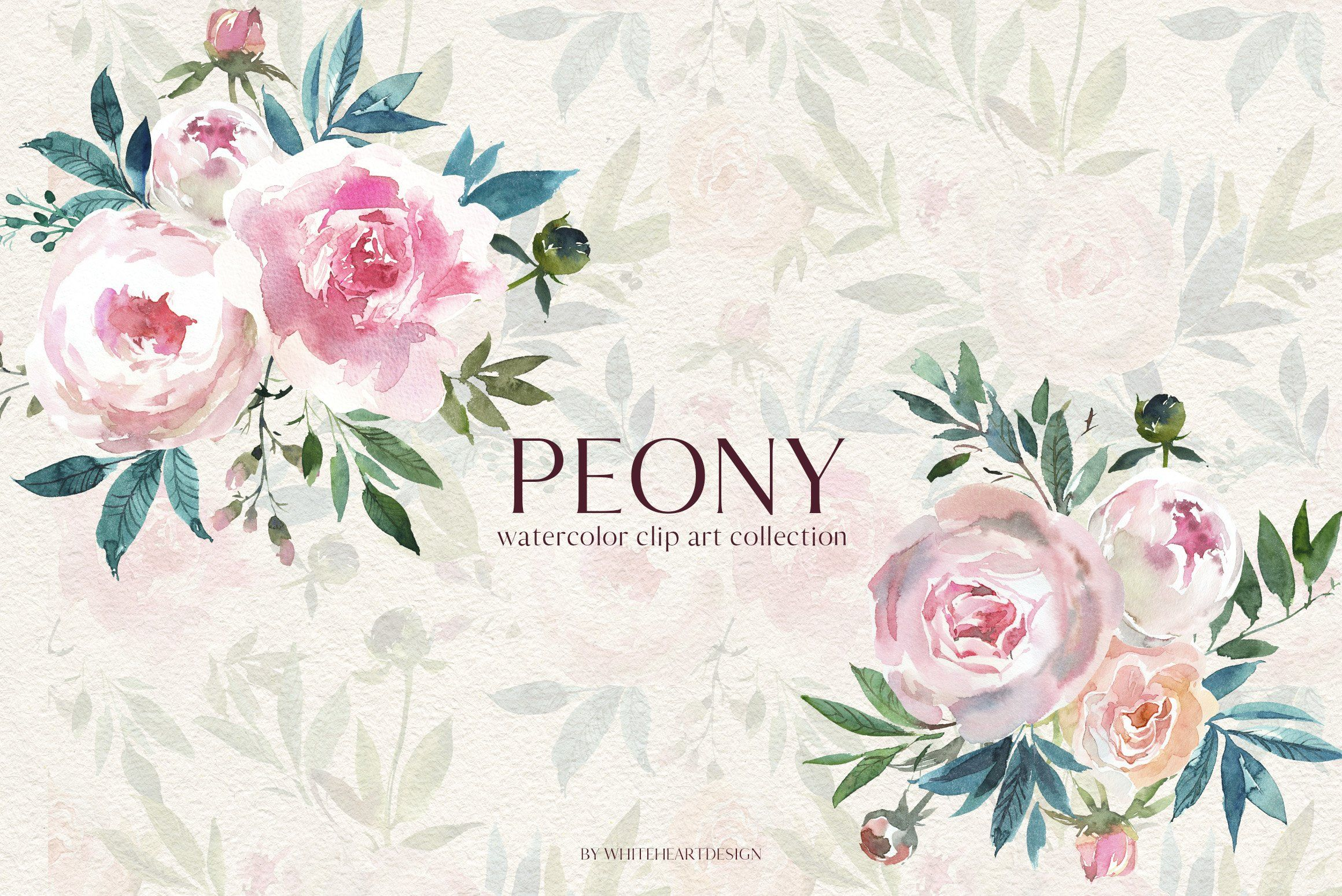 Peony Watercolor Floral Clipart Spon Wide Cm Seamless Pattern