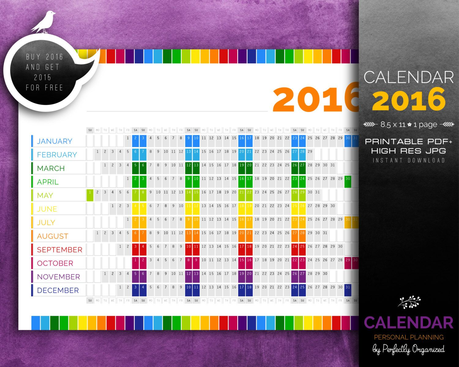Calendar Year Calendar Personal Planning Kit  Rainbow