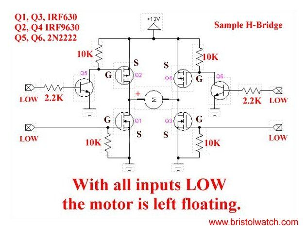 4-input H-Bridge circuit using power MOSFETs. | ELEctronicE ... on arduino uno schematic, sensor wiring diagram, wifi wiring diagram, wii nunchuck wiring diagram, power wiring diagram, apache wiring diagram, samsung wiring diagram, arduino control panel, panasonic wiring diagram, software wiring diagram, toshiba wiring diagram, general wiring diagram, hexacopter wiring diagram, arduino cover, dht11 wiring diagram, electronics wiring diagram, printrbot wiring diagram, arduino turn signals, breadboard wiring diagram, apple wiring diagram,