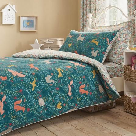 Dunelm Reversible Green Woodland Ditsy Duvet Cover And Pillowcase Set Woodland Bedding Bedding Sets Uk Bed Linen Sets