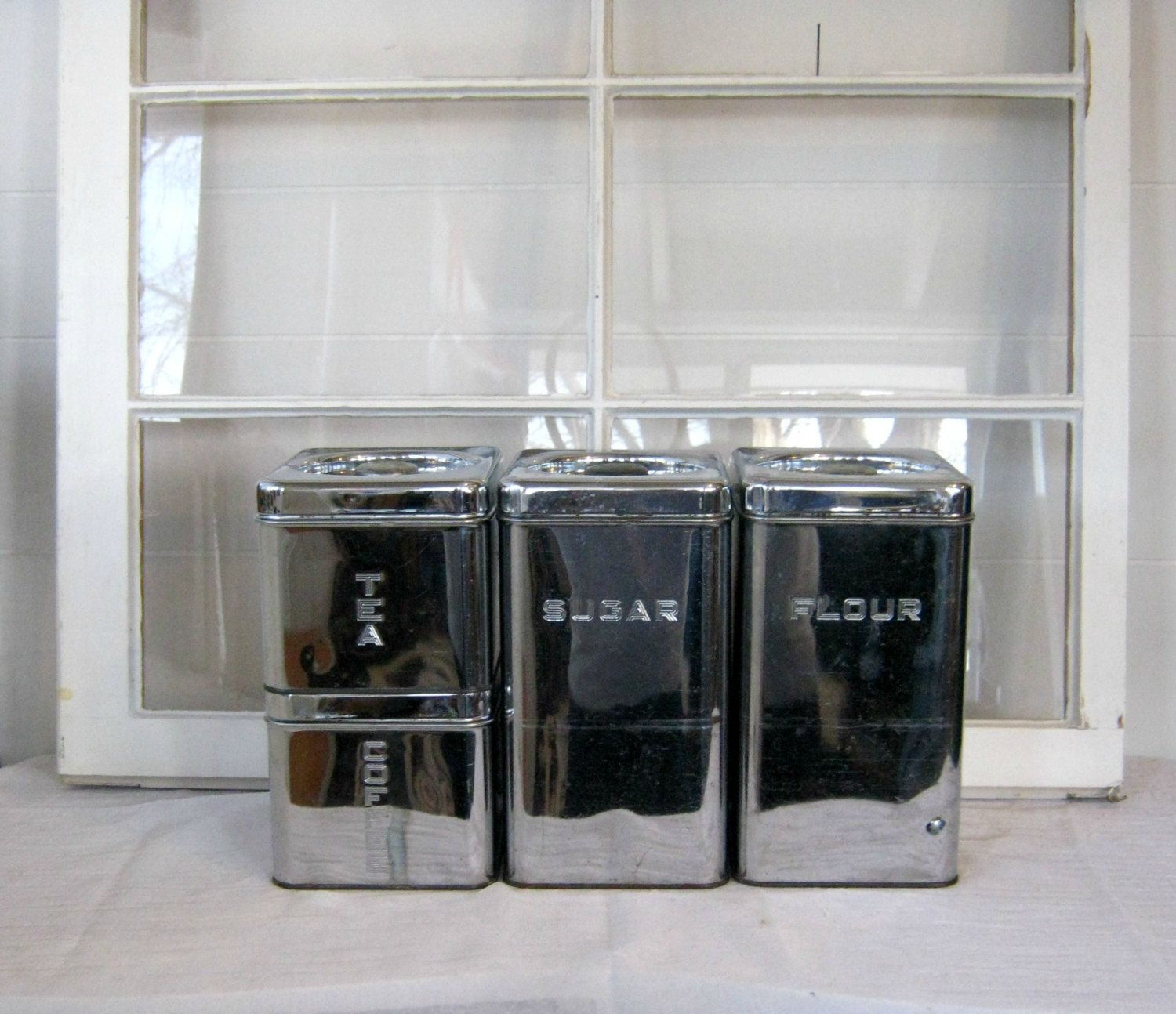 Retro Chrome Kitchen Canister Set Shabby Chic By PeacockAttic, $42.00