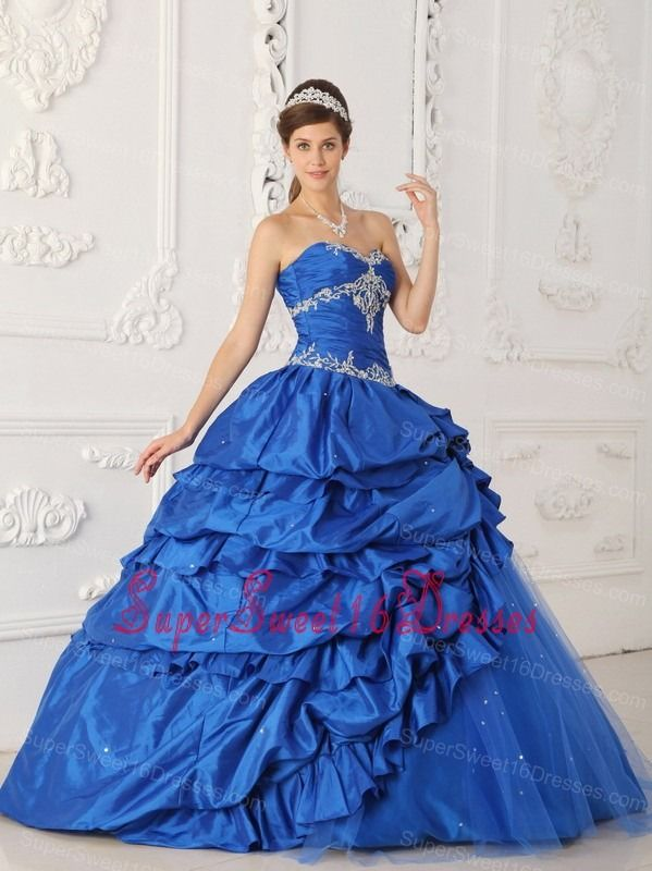 e7a81fd7569 Exclusive Sapphire Blue Sweet 16 Dress Sweetheart Taffeta and Tulle  Appliques with Beading A-Line   Princess