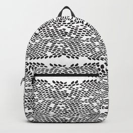 Snake skin scales texture. Seamless pattern black on white background. simple ornament Backpack | white