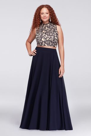 b19a575c67a87 This dramatic plus-size ensemble features a stunningly embroidered,  sequin-embellished halter crop top and a flowing chiffon skirt. By City  Triangles ...