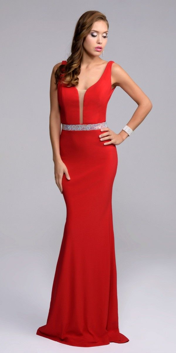 Simple V-Neck Evening Dress 7230. Colors: