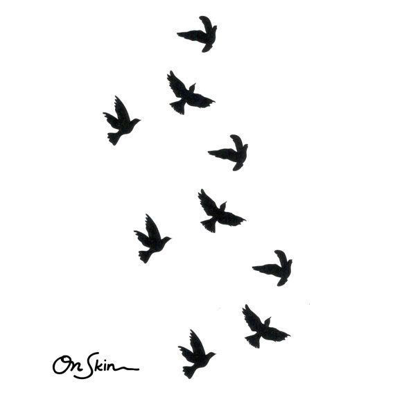 Flying swallows birds temporary tattoo/ Temporary von OnSkinHK ...