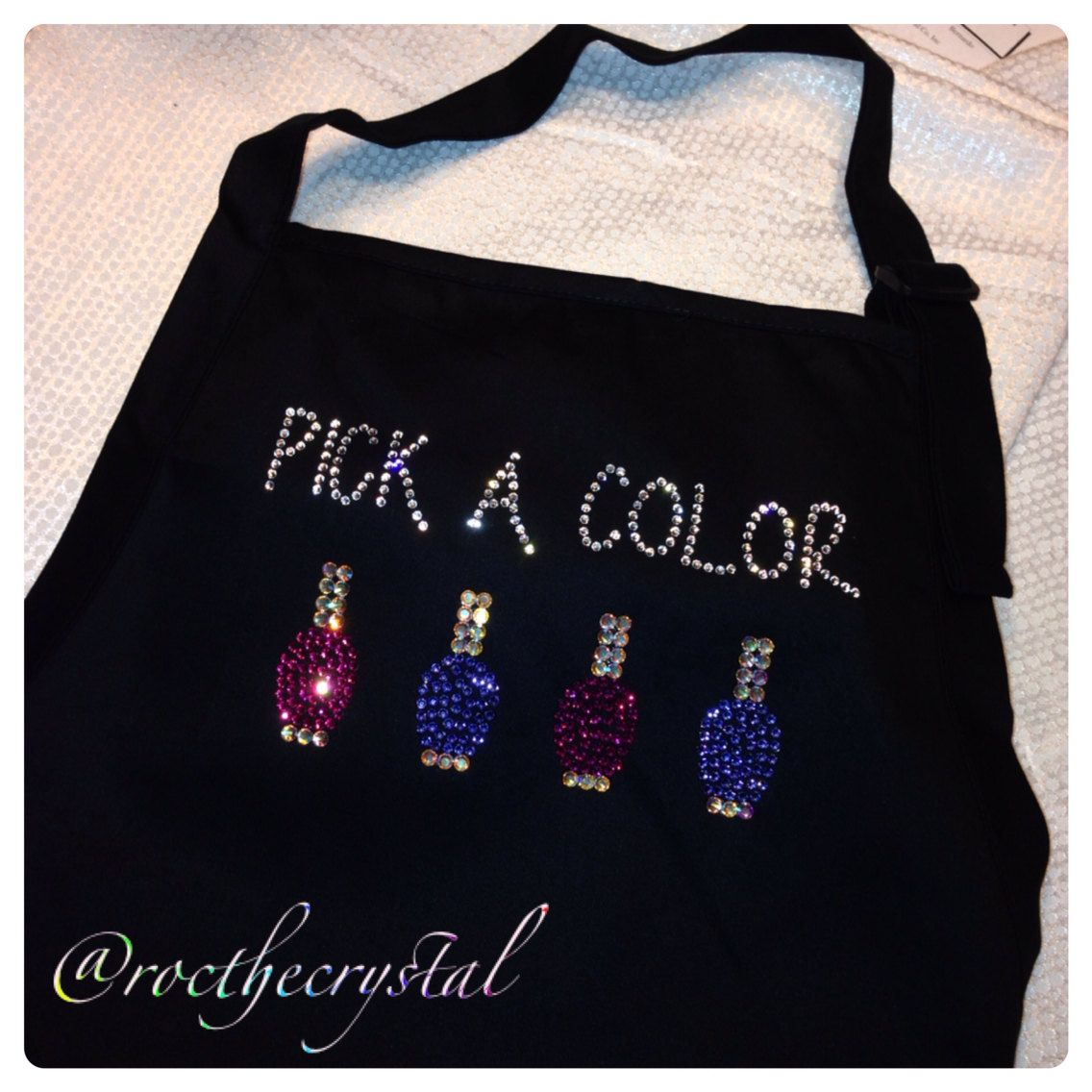 Swarovski Nail Tech Apron Pick a Color by RoctheCrystal on