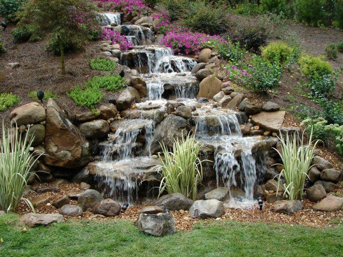 Wasserfall Garten Hinterhof Ideen Stufen