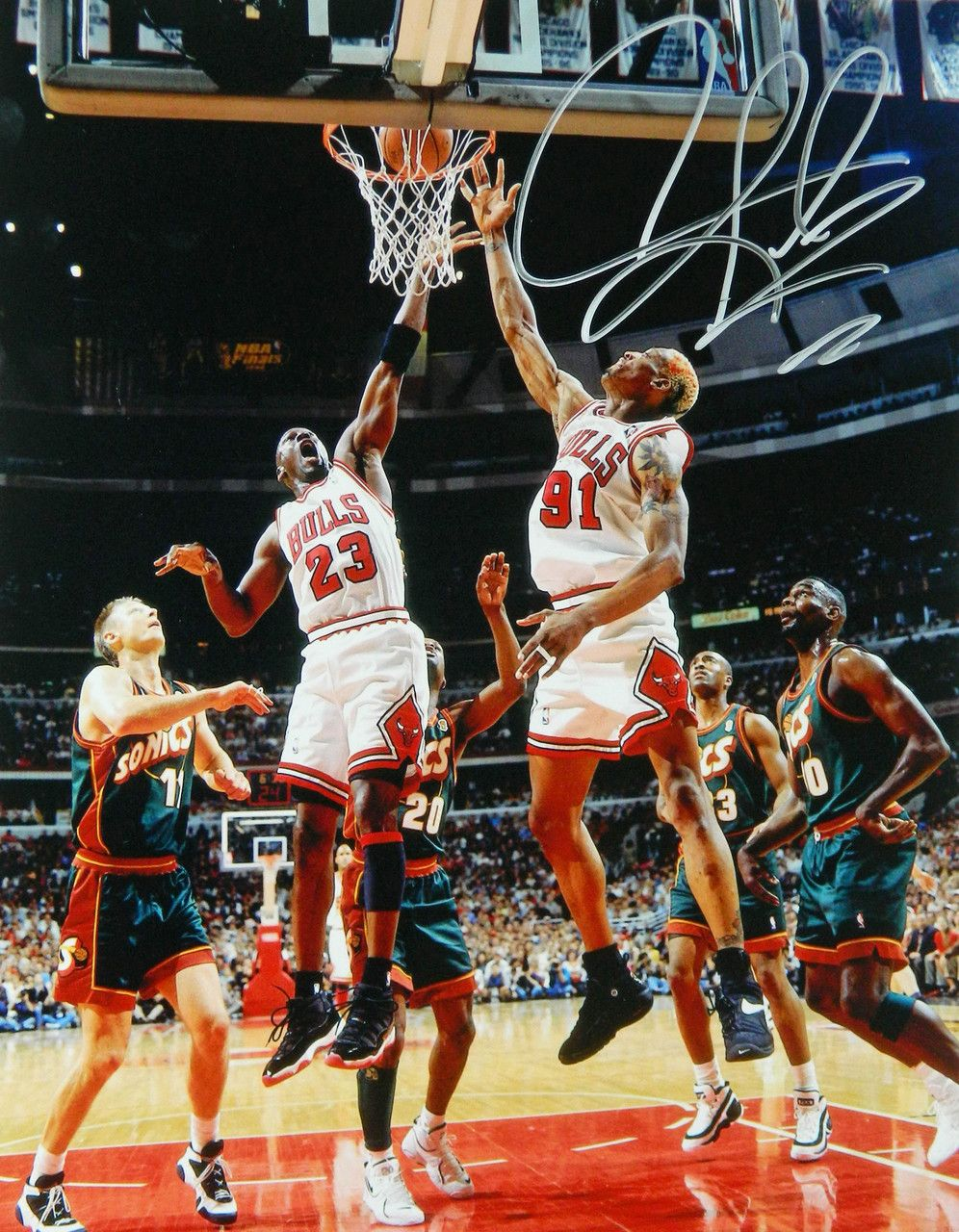 Dennis Rodman Signed Chicago Bulls Action With Michael Jordan 11x14 Photo