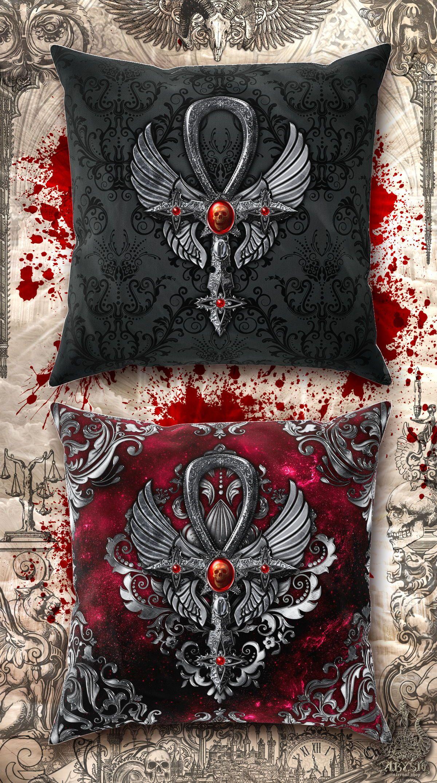 Gothic Cross Bedroom Decor Macabre Decor Pillow Case Macabre Decor Goth Home Decor Egyptian Ornamented