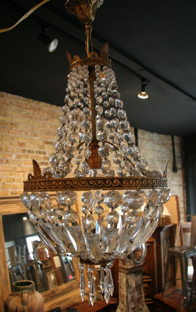French Vintage Empire Style Crystal Chandelier Chandeliers