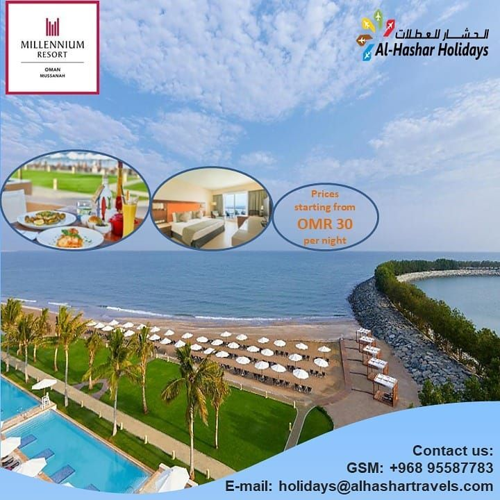Staycation Offer!! Stay at one of Luxurious Resorts at Millennium Resort Mussannah and unlock your happiness. #AlHasharTourism #AlHasharHolidays #AlHasharTravels #muscat #oman #travelgram #traveler #traveling #AlHasharTours #AlHasharVisas #Vacations #Holidays #HolidayPackages #Tours #TourPackages #LeisureTravel #Getaways #HolidayOffers #Explore #Travel #Scenic #Nature #HolidayPackageOffers #GlobeTrotters #staycationoman #getaways #traveldeals #TravelOffers