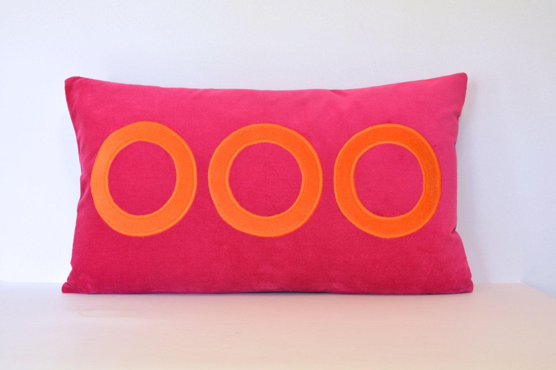 Fuchsia and orange circle pillow cover pink pillows dot dot and