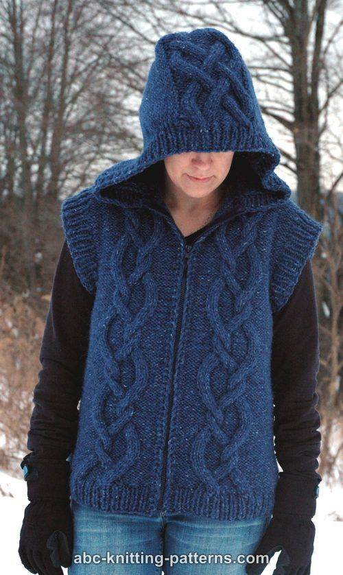 Abc Knitting Patterns Street Chic Hooded Cable Vest Free Pattern