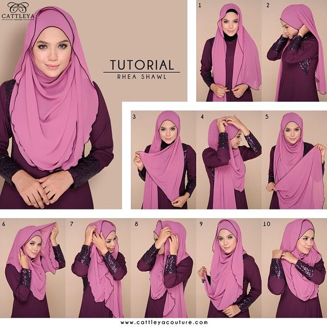 1. Place your hijab on your head with long & short sides 2. Tie back the sides with a safety pin 3. Bring the short side over your neck 4. Pin it to the top 5. Now take the long side 6. And wrap it over your head starting from the back 7. Pin both sides from the top keep it loose 8. Adjust the fabric left on your chest to cover it nicely