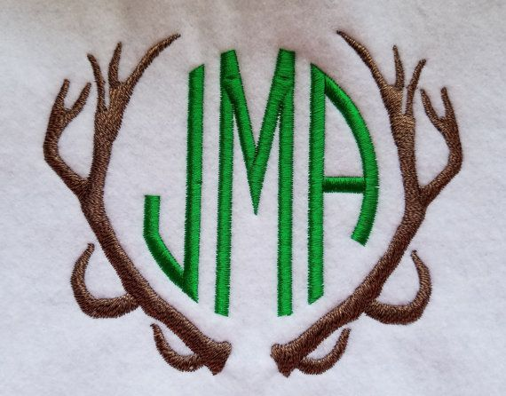 Monogram Antlers  3 sizes by LMTEmbroideryDesigns on Etsy