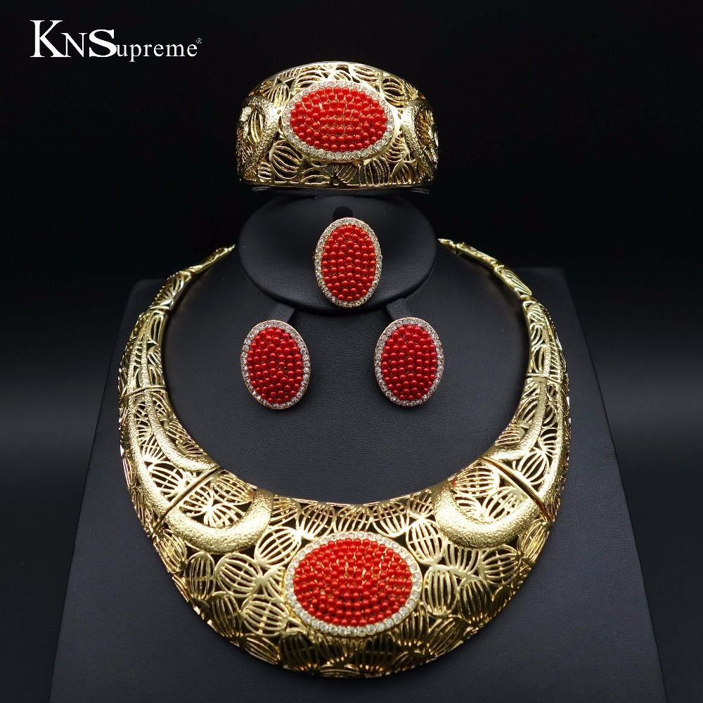 Dubai wedding bridal beads jewelry set goldcolor woman african