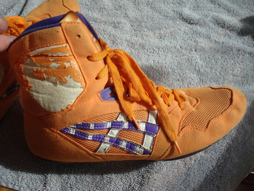 RARE ASICS LYTE FLEX WRESTLING SHOES, SIZE 12, ORANGE AND PURPLE ...