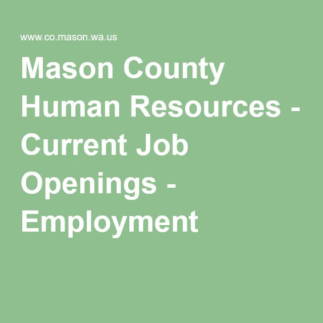 Mason County Human Resources - Current Job Openings - Employment