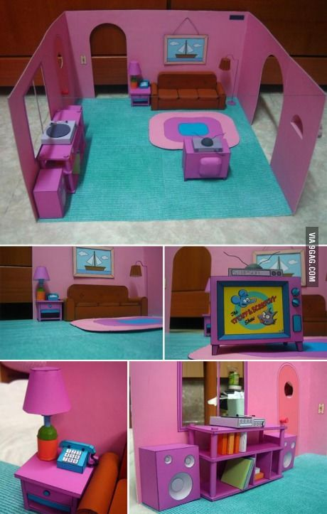 Just The Simpsons Living Room Made From Paper The