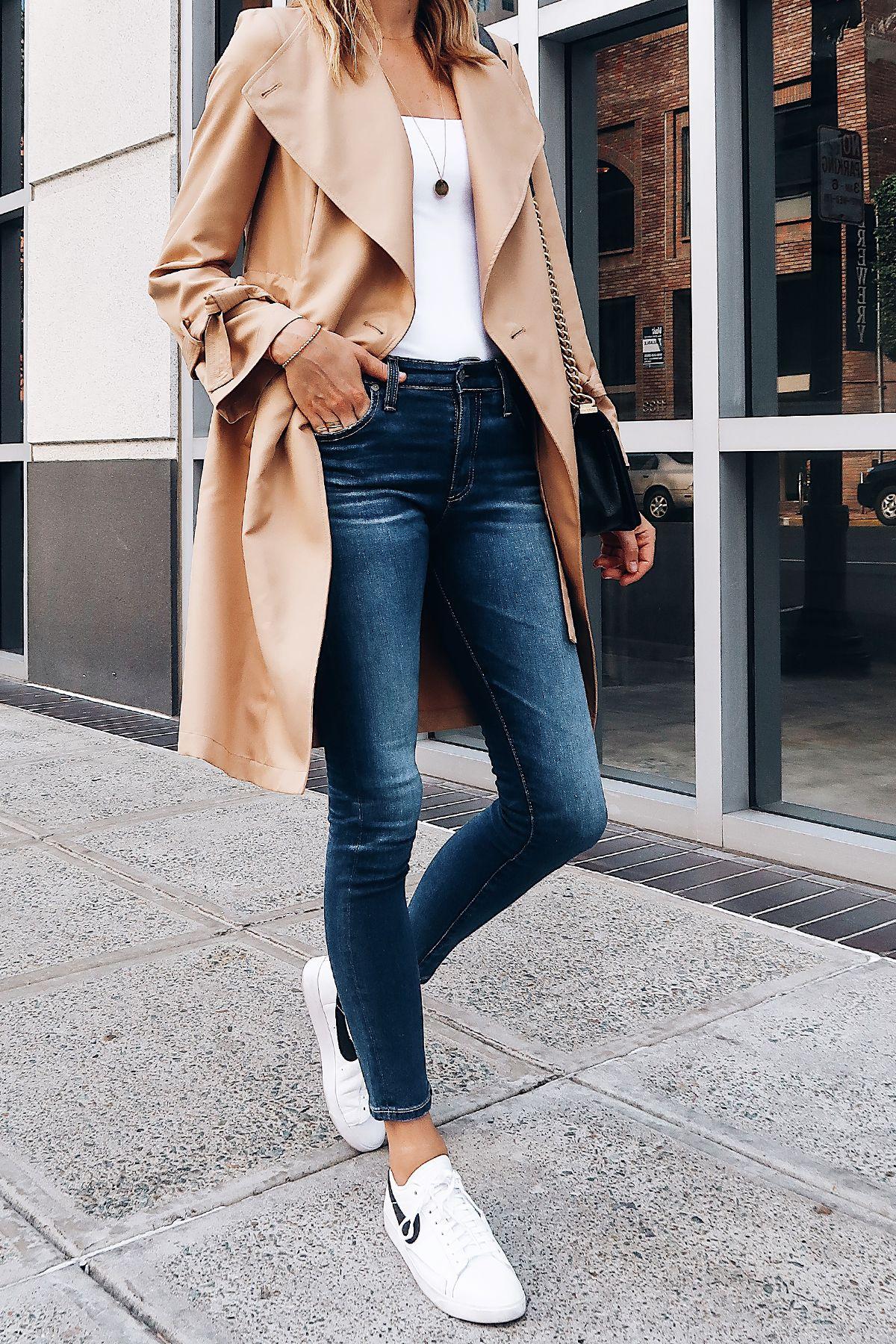 Woman Wearing Nordstrom Anniversary Sale Halogen Trench Coat White Bodysuit  AG Farrah Ankle Skinny Jeans Nike Blazer White Sneakers Fashion Jackson San  ...