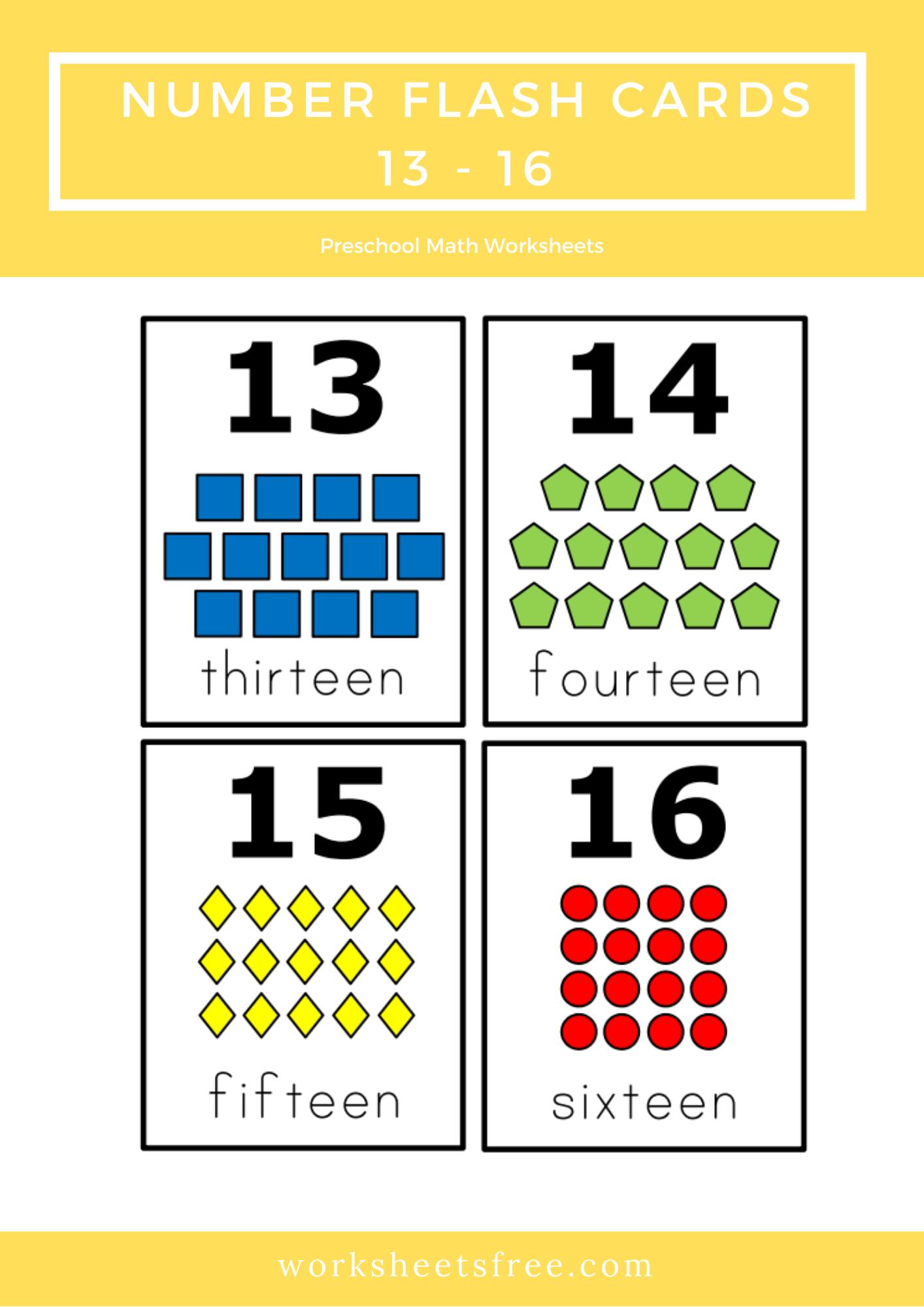 Number Flash Cards 13 16 Top 10 Preschool Math Kids Activities Worksheets Kids Math Activities Math For Kids Preschool Math Worksheets