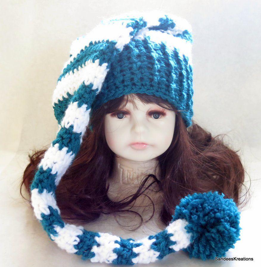 2570909e965 Crochet Newborn Stocking Turquoise Hat