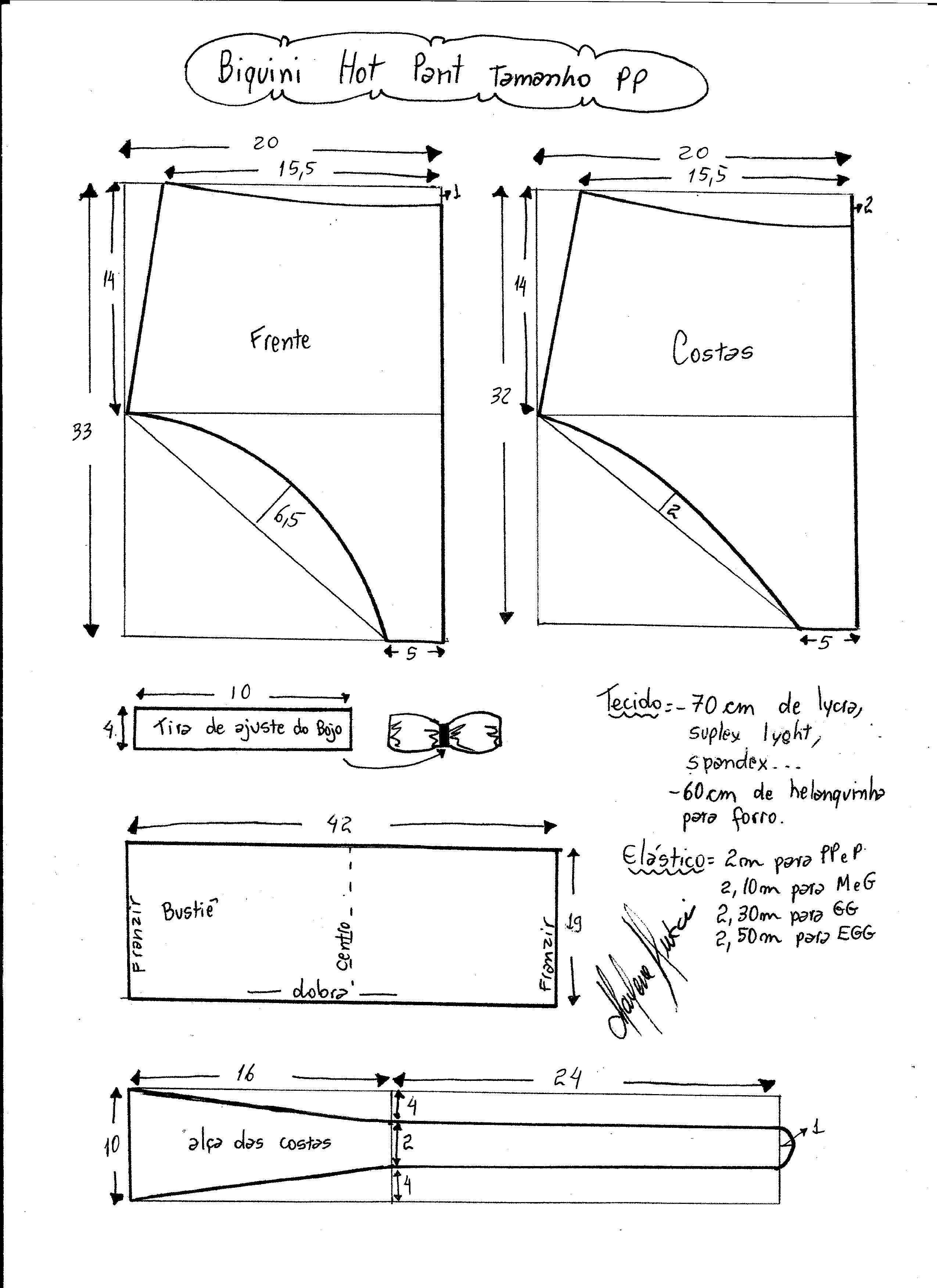 Esquema de modelagem de biquíni hot pant tamanho PP. b65ea3a6dd3