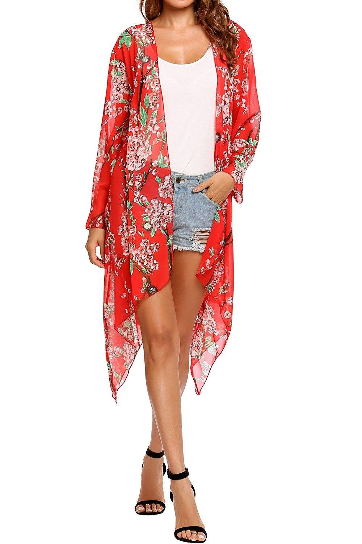 b6bfbe2bdf5ef Women's Sheer Chiffon Floral Long Sleeve Open Front Kimono Maxi Cardigan -  Red - C8183LWTDTY,Women's Clothing, Sweaters, Cardigans #women #fashion # clothing ...