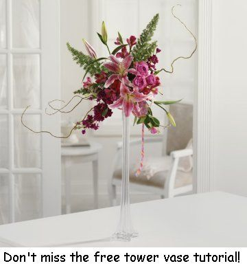Tall Vases   Step by Step Wedding Tutorial Learn how to make bridal  bouquets  corsages  boutonnieres  reception table centerpieces and church  decorations Tall Vases   learn how to make your own and save money   Wedding  . Tall Flower Vases For Weddings. Home Design Ideas