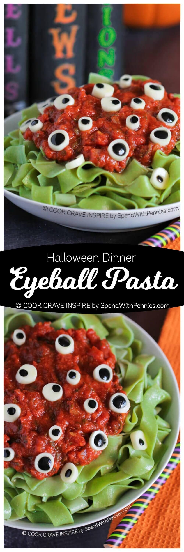 Eyeball Pasta (Halloween Dinner Idea) - Spend With Pennies