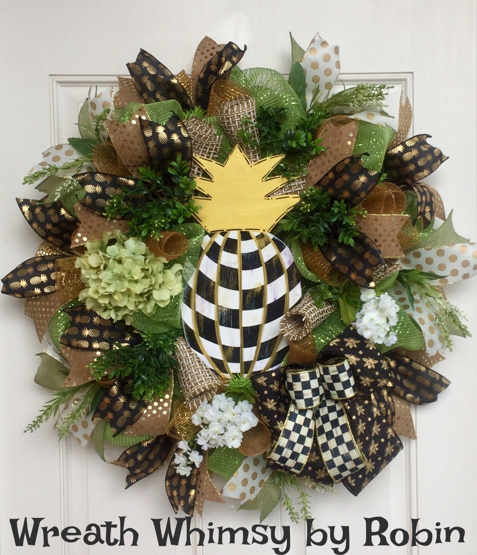 Year Round Deco Mesh Wreath With Hand Painted Checked Pineapple, Front Door  Wreath, All