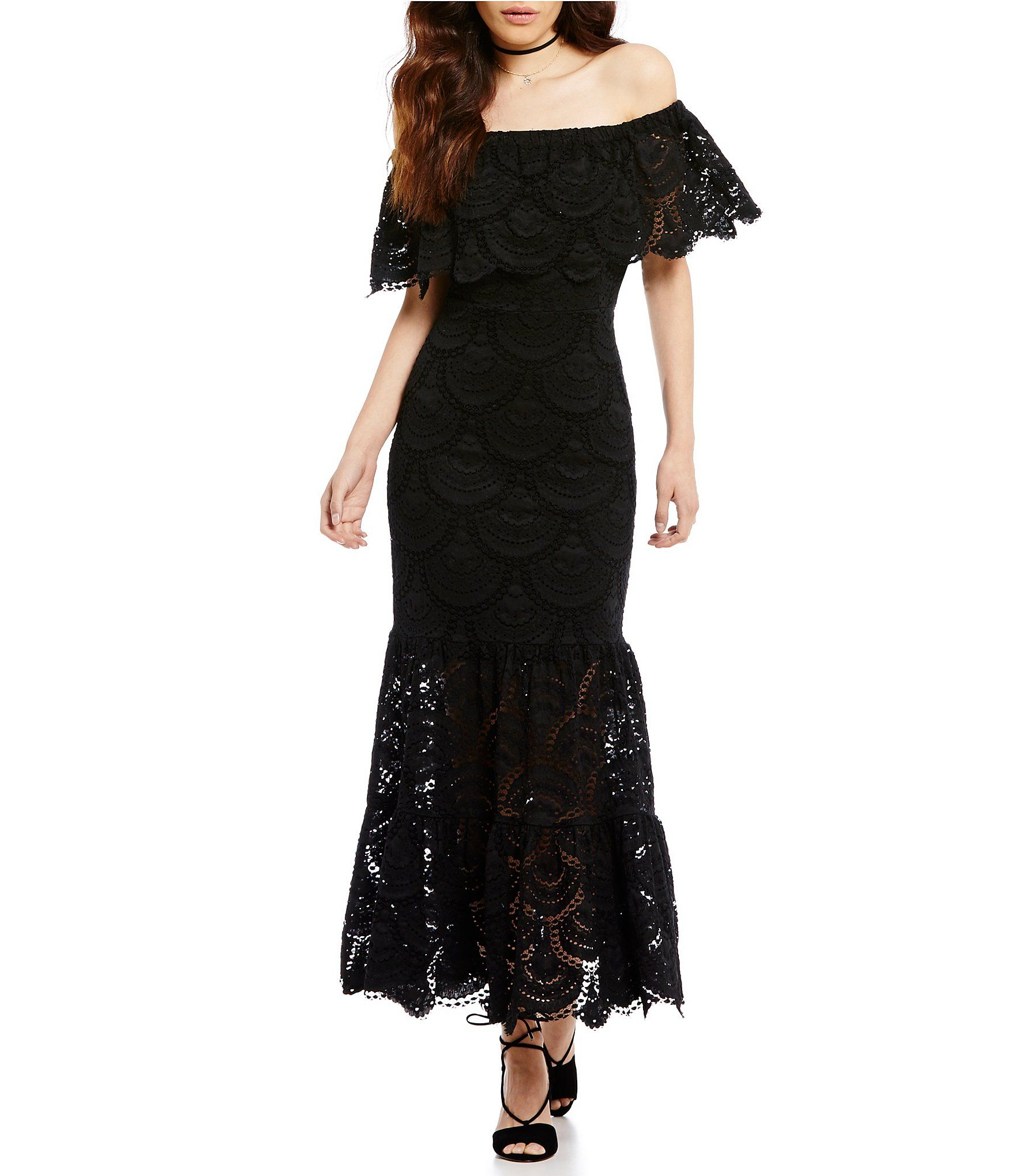 a4b595e25222 Shop for Gianni Bini Reina Off-the-Shoulder Short Sleeve Lace Maxi Dress at  Dillards.com. Visit Dillards.com to find clothing, accessories, shoes, ...