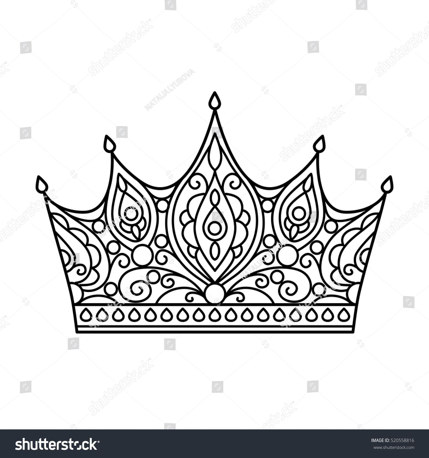 Vector Illustration Outline Crown Coloring Page Abstract