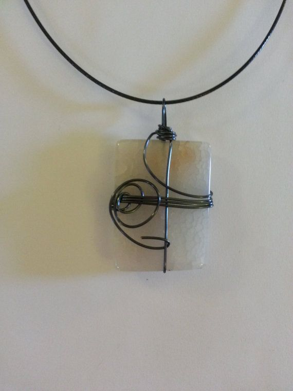 White Wire wrapped stone pendant, 18\