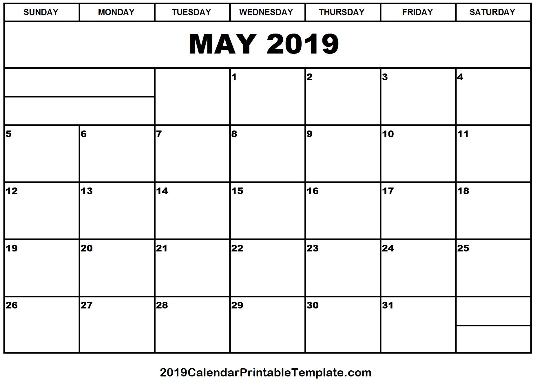 May 2019 Calendar Printable Template With Holidays Pdf Word Excel