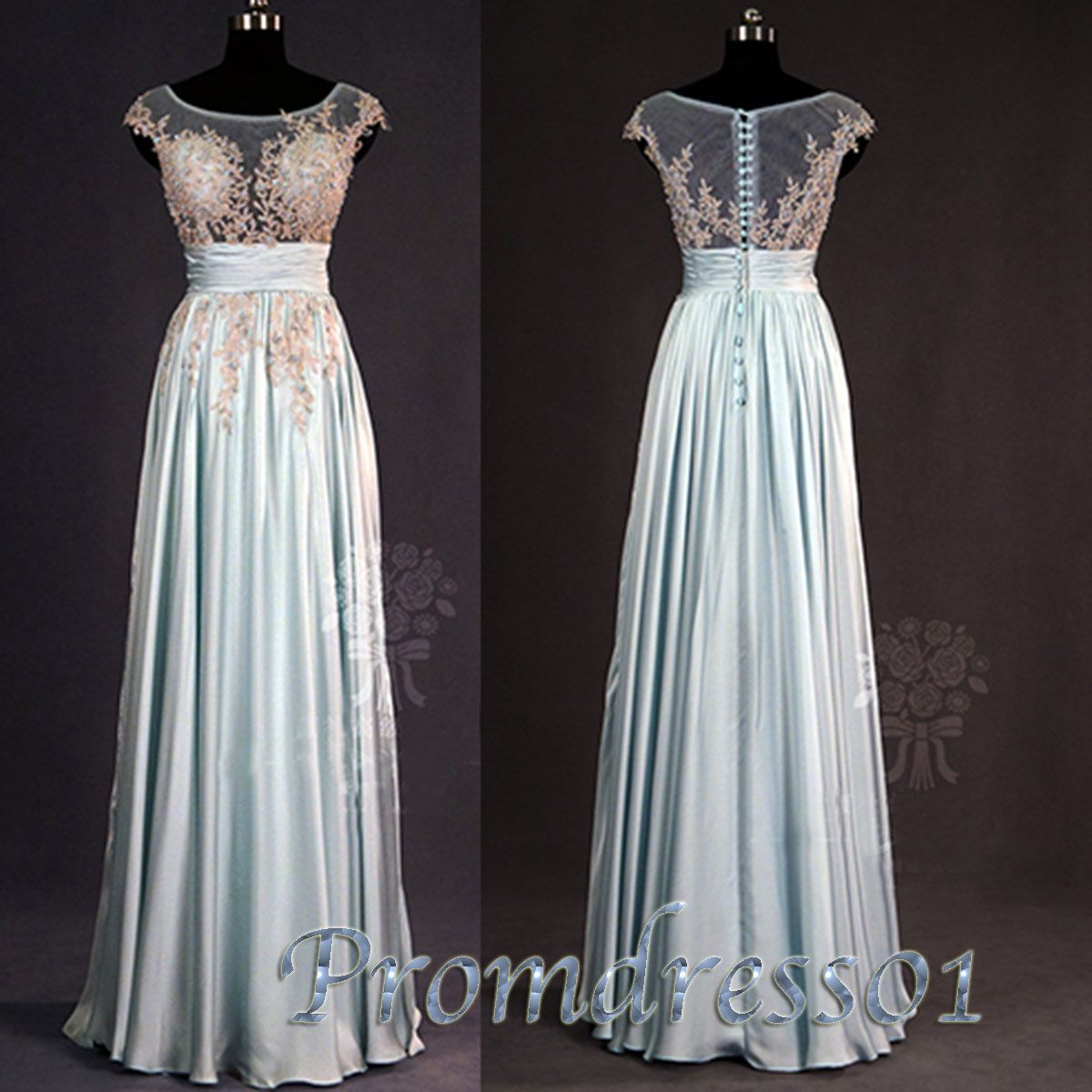 2015 spring tailor-made A-line blue lace long prom dress Handmade ...