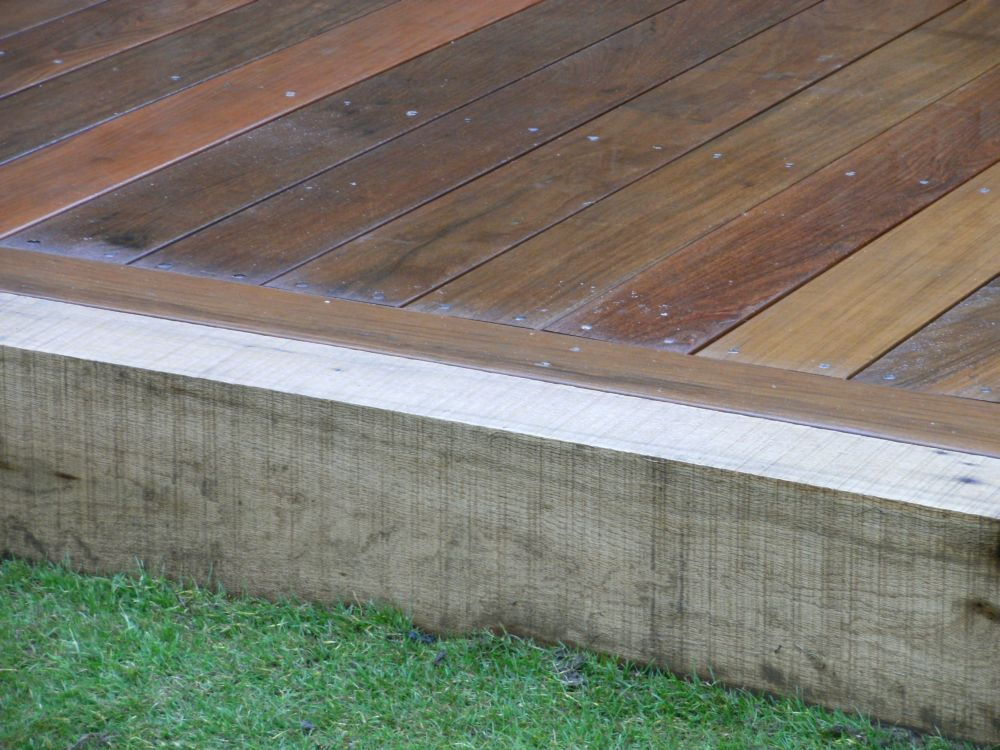 using railway sleepers and hardwood deck boards
