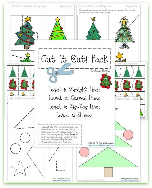 free christmas cutting practice pack cut it out preschool christmaschristmas activitieschristmas printablesholiday - Preschool Christmas Printables