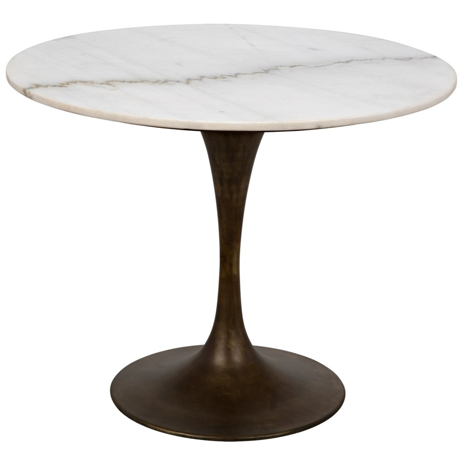 Laredo Table 36 Aged Brass White Marble Top Dining Tables Noir Marble Top Dining Table Dining Table Marble Top