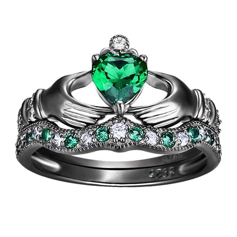 925 sterling silver engagement wedding bridal ring set