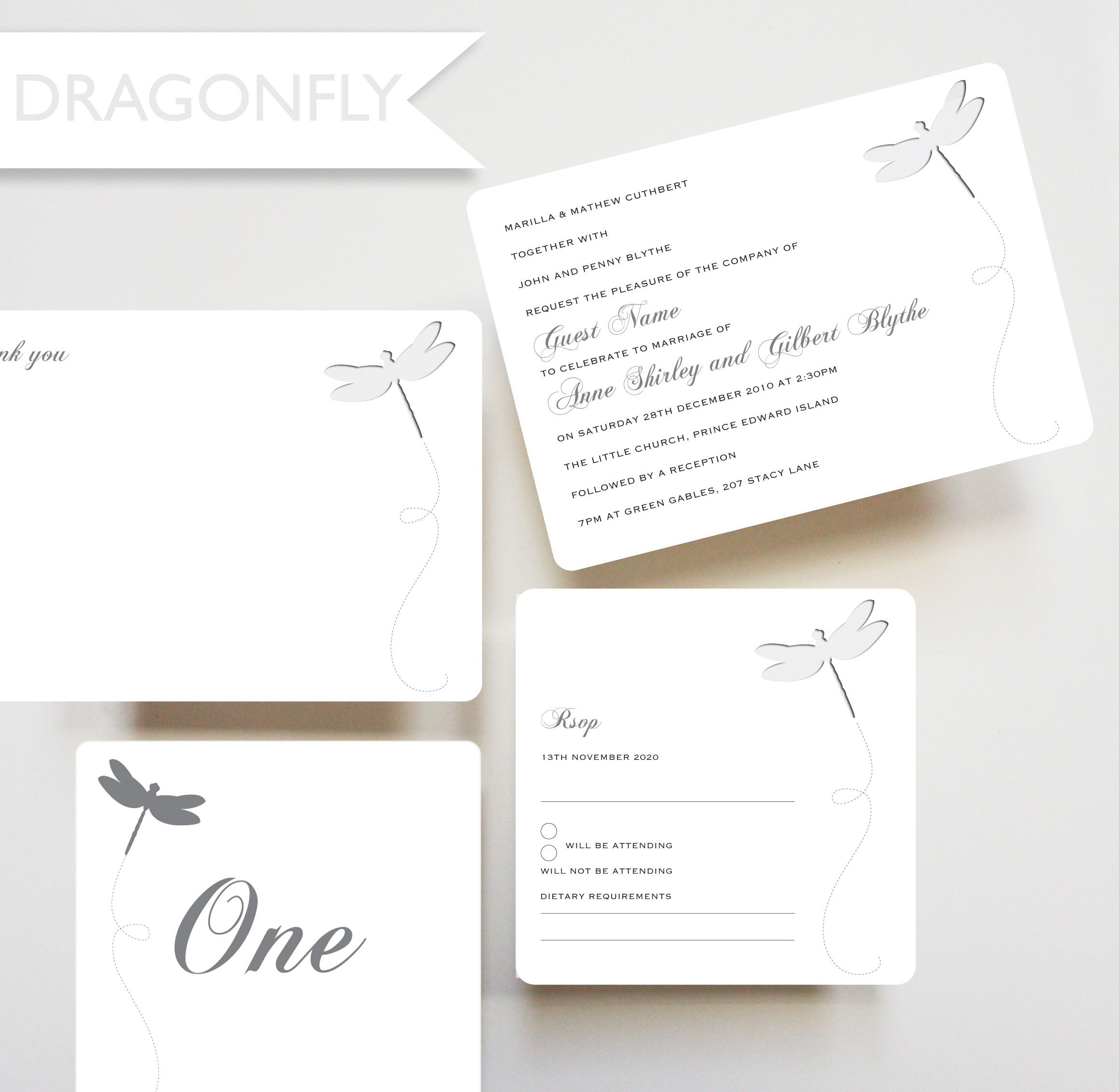 Dragonfly, die cut invitation, RSVP card, table number, thankyou ...