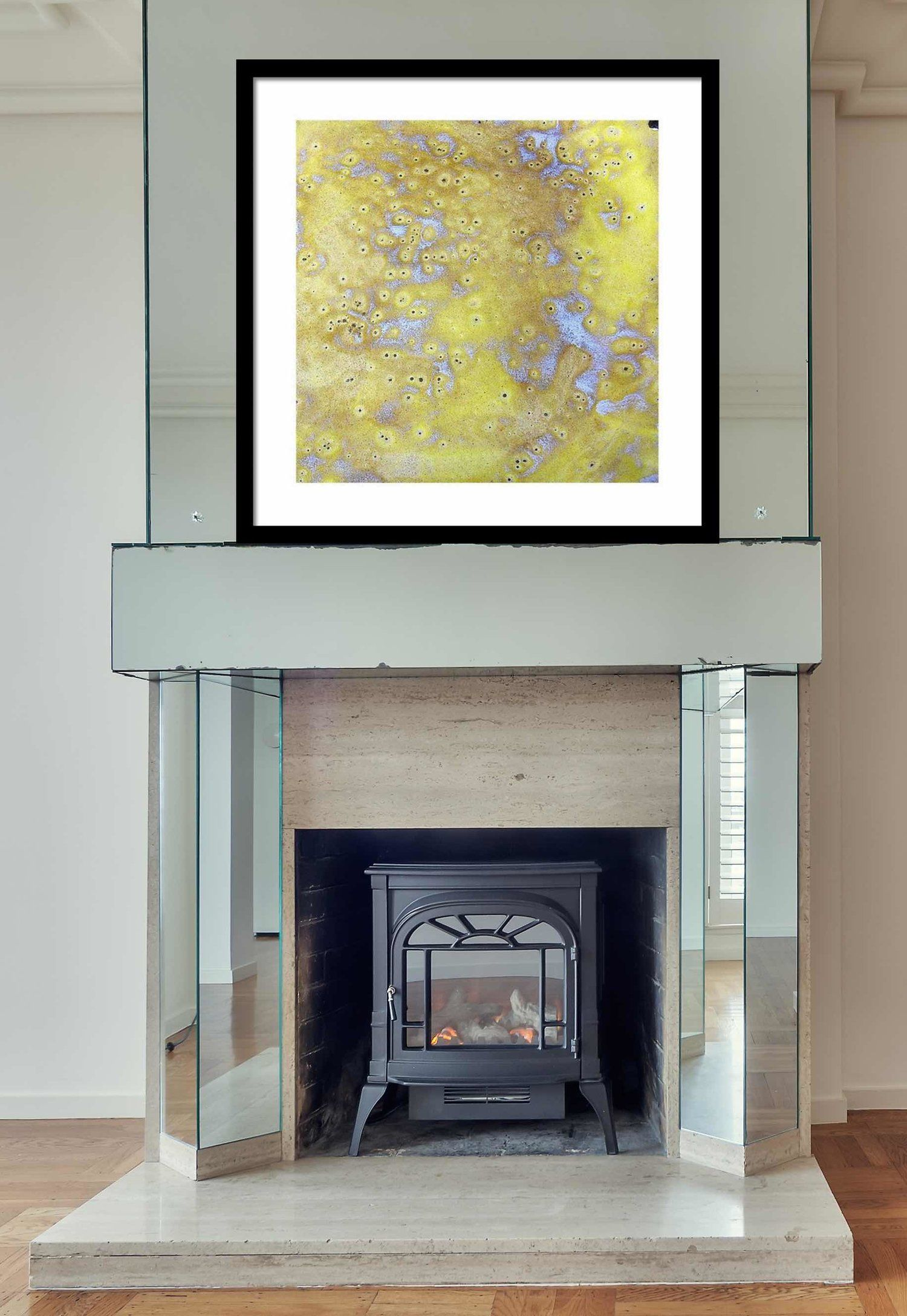 square abstract framed print above fireplace yellow black and white modern canvas prints modern