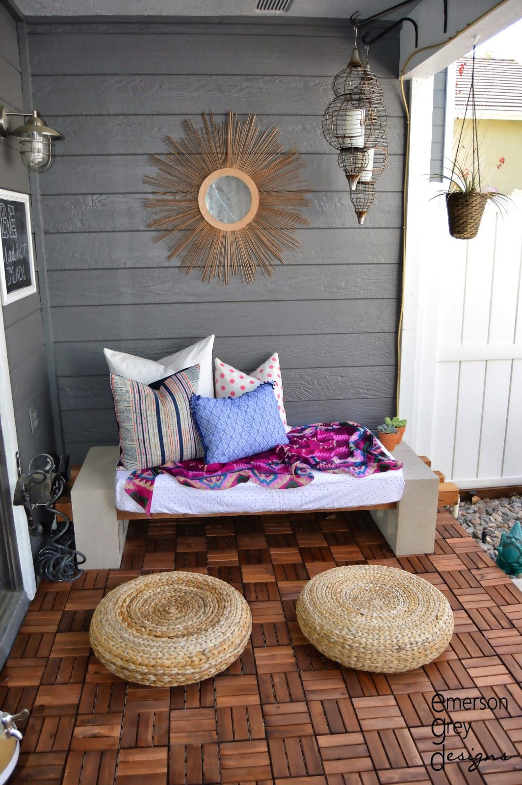 Outdoor lounge area {after}, DIY bench, wood decking, starburst ...