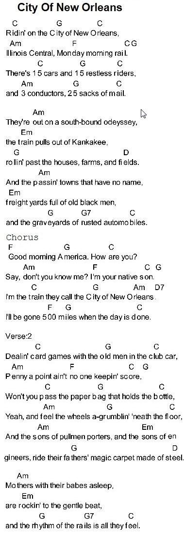 City Of New Orleans Guitar Chords Lyrics Easy Guitar Songs Guitar Chords For Songs Guitar Lessons Songs